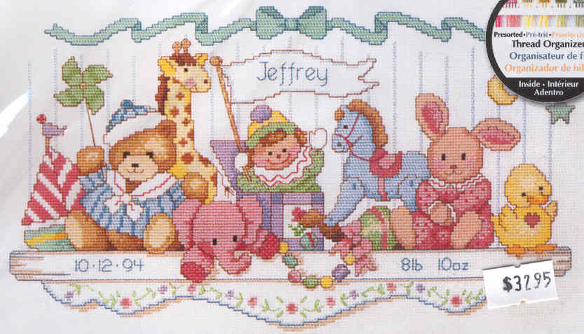 Dimensions D73068 Counted Cross Stitch kit Birth Record Babys Friends