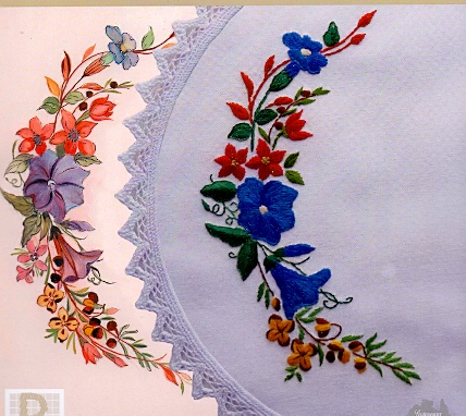 Tablecloth Pansy design circular cotton lace printed embroidery table cloth